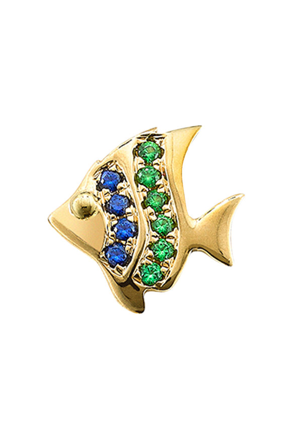 Robinson Pelham 14K Gold Stud Club Sapphire Fish Single Stud