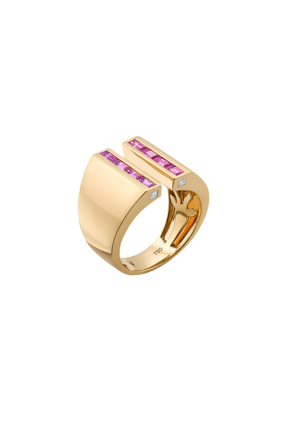 Robinson Pelham 18K Yellow Gold Sabre Pink Sapphire Ring