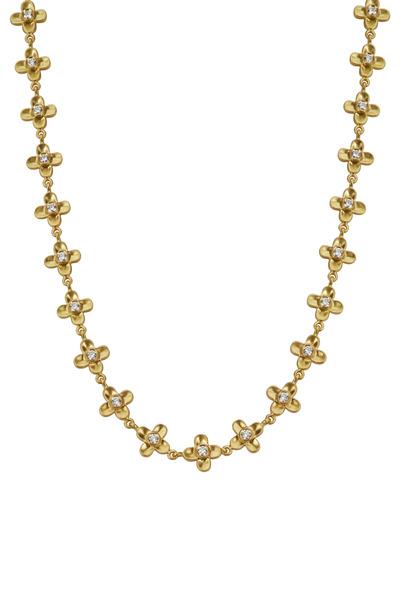 Caroline Ellen - 20K Yellow Gold Diamond Flower Necklace