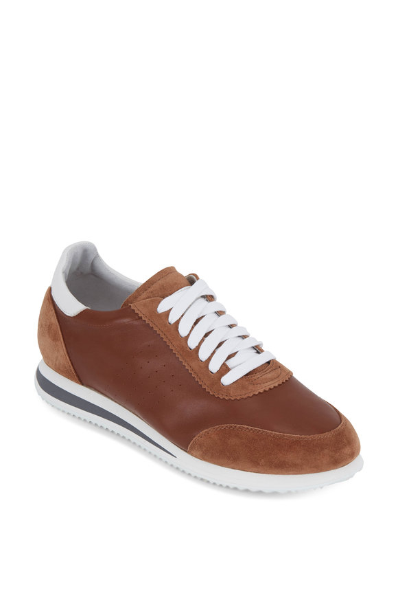 Brunello Cucinelli Nut Leather & Suede Sneaker