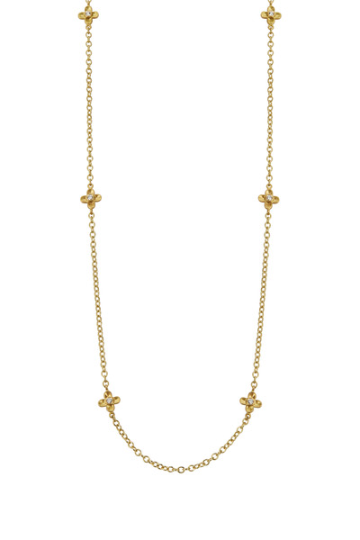 Caroline Ellen - 20K Yellow Gold Diamond Flower Station Necklace