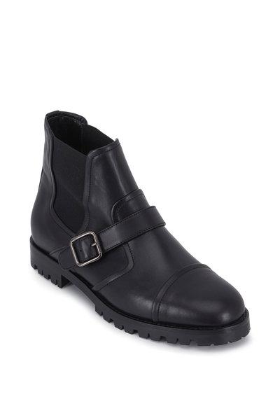 Manolo Blahnik - Traba Black Leather Double-Gore Ankle Boot