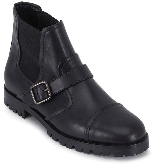 Manolo Blahnik Traba Black Leather Double-Gore Ankle Boot