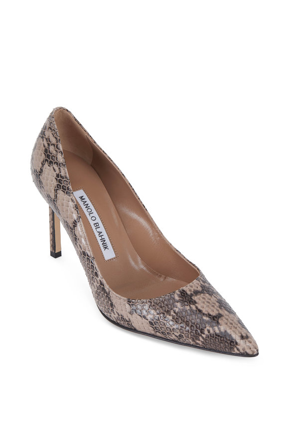 Manolo Blahnik Lisa Taupe Snakeskin Pump, 90mm
