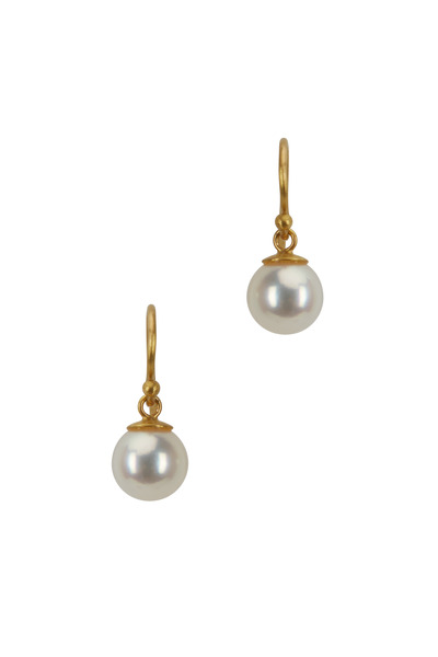 Caroline Ellen - Yellow Gold Cultured Pearl Dangle Earrings
