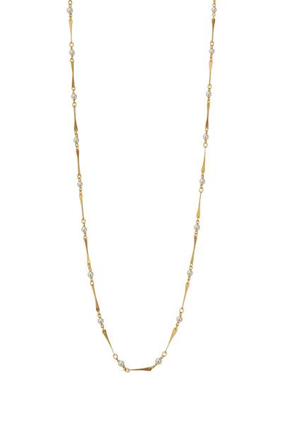 Caroline Ellen - Yellow Gold Mini Link Pearl Necklace