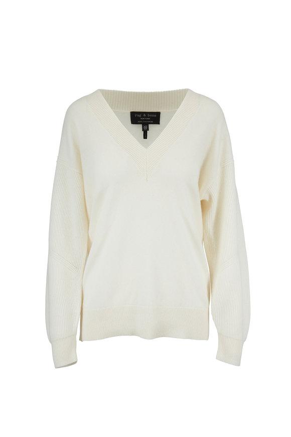 Rag & Bone Logan Ivory Cashmere V-Neck Sweater