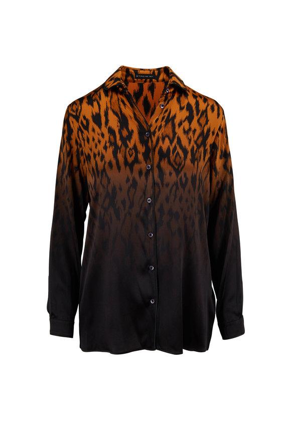 Etro Ombre Cheetah Print Stretch Silk Button Down