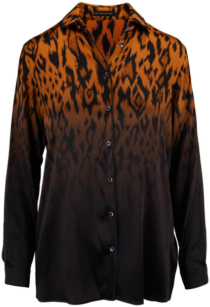Etro Ombre Cheetah Print Stretch Silk Button Down