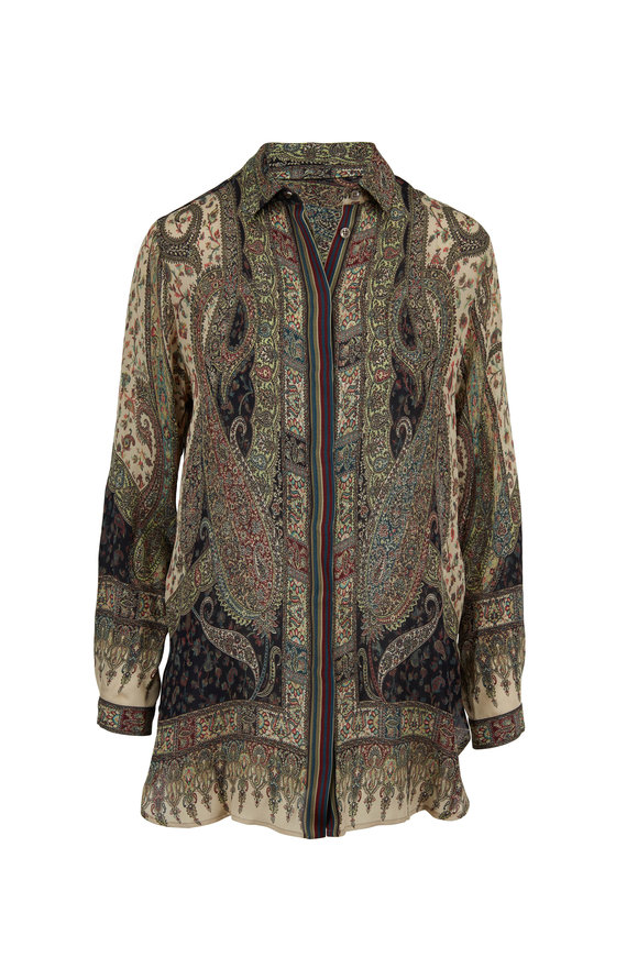 Etro Multicolor Silk Paisley Button Down Tunic
