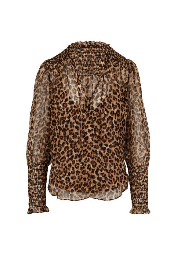Veronica Beard Jaz Leopard Print Silk Blouse