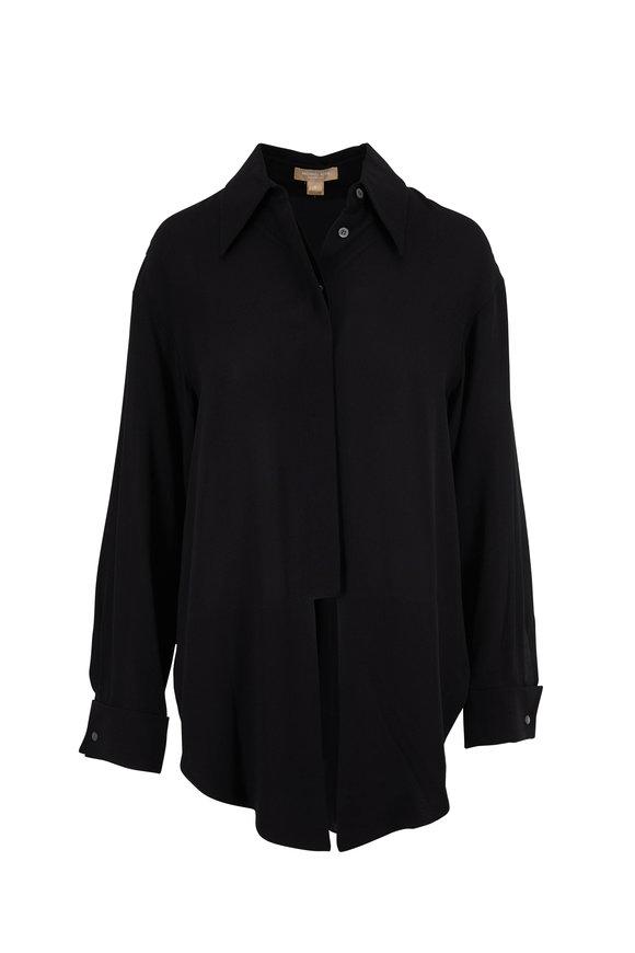 Michael Kors Collection Black Tie Front Silk Blouse