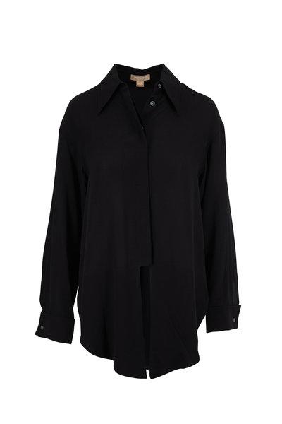 Michael Kors Collection - Black Tie Front Silk Blouse