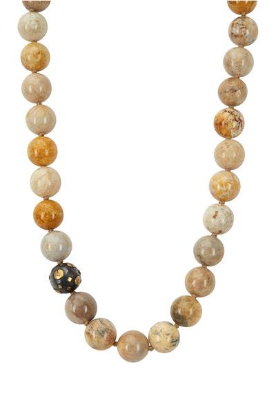 Yossi Harari - Libra Gold Fossilized Coral Diamond Necklace