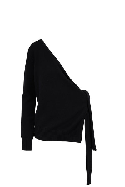 Michael Kors Collection - Black Asymmetric One Shoulder Sweater