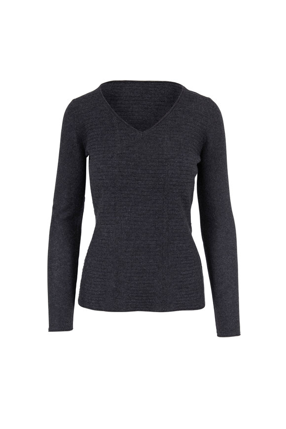 Kinross Charcoal Cashmere Mixed Stitch V-Neck Sweater