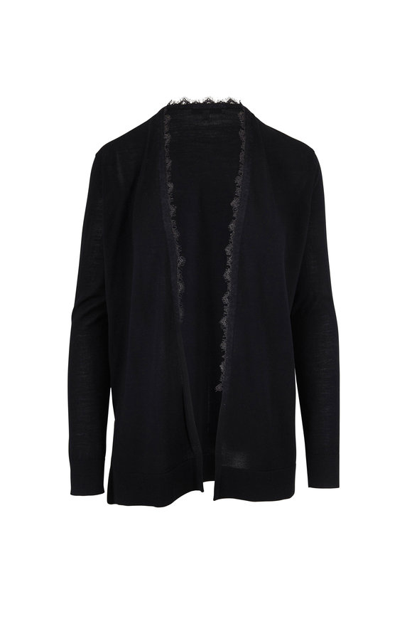 Dorothee Schumacher Promising Passion Black Lace Trim Cardigan