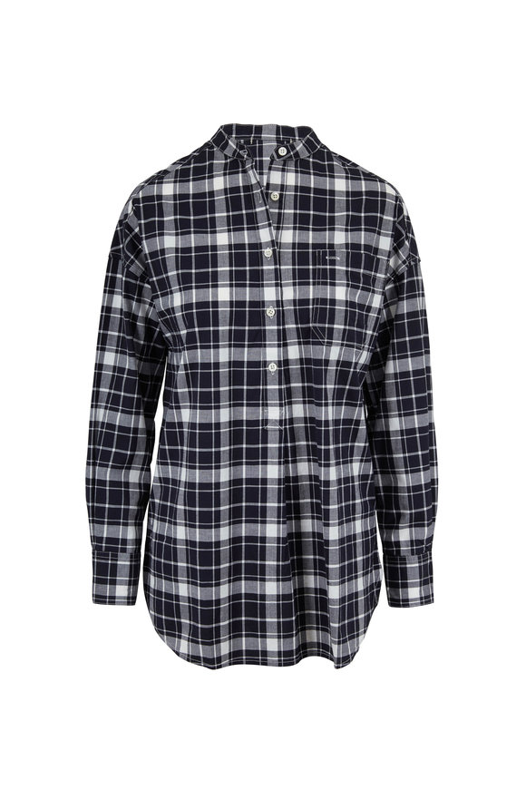 Alex Mill Popover Black & White Crinkled Plaid Tunic