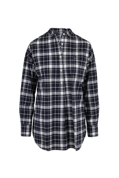 Alex Mill - Popover Black & White Crinkled Plaid Tunic
