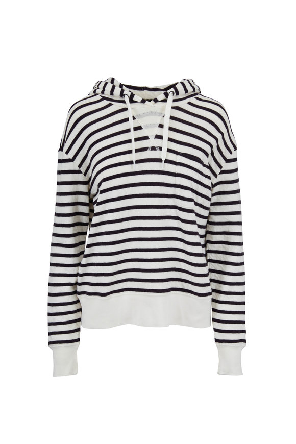 Alex Mill White & Navy Striped Double Weave Hoodie
