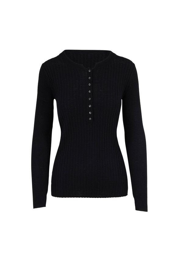 Alex Mill Black Multi Rib Stretch Wool & Silk Henley