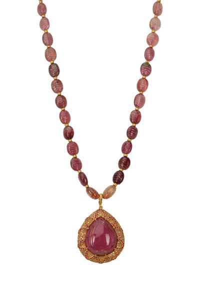 Yossi Harari - Clara  Gold Pink Rubelite & Tourmaline Necklace
