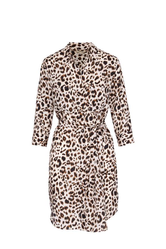 L'Agence Stella Silk Leopard Print Dress