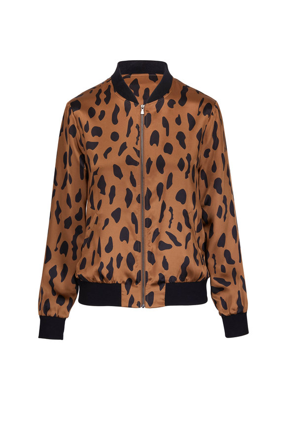 L'Agence Ollie Camel Silk Abstract Animal Bomber Jacket