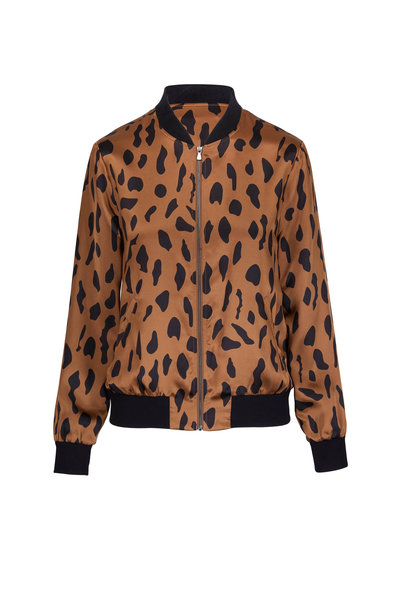 L'Agence - Ollie Camel Silk Abstract Animal Bomber Jacket
