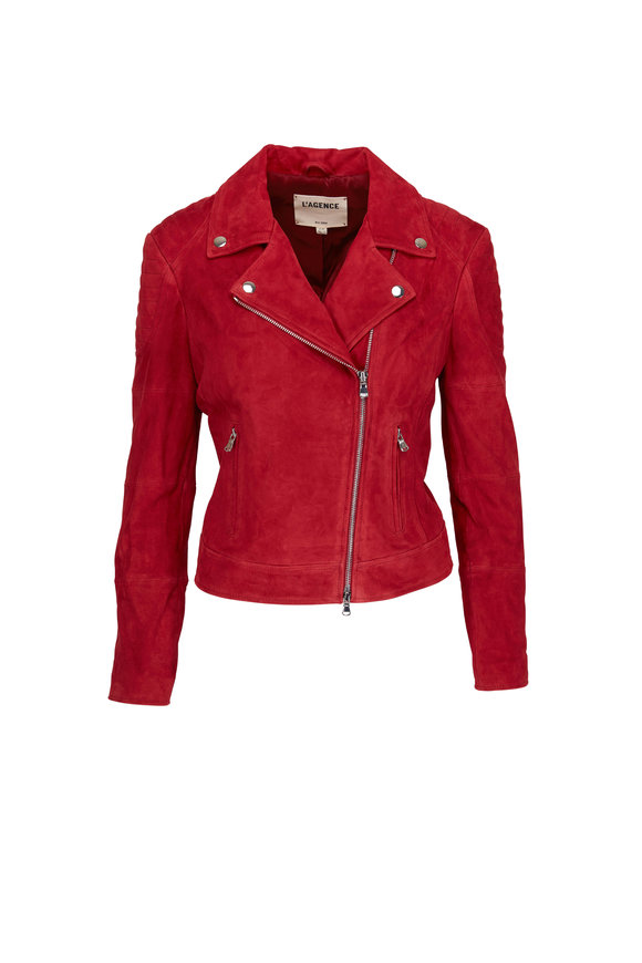 L'Agence Red Leather Biker Jacket
