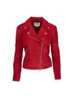 L'Agence - Red Leather Biker Jacket