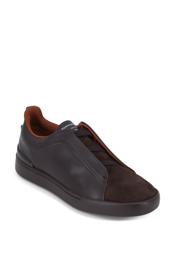 Ermenegildo Zegna Triple Stitch Brown Leather & Suede Sneaker
