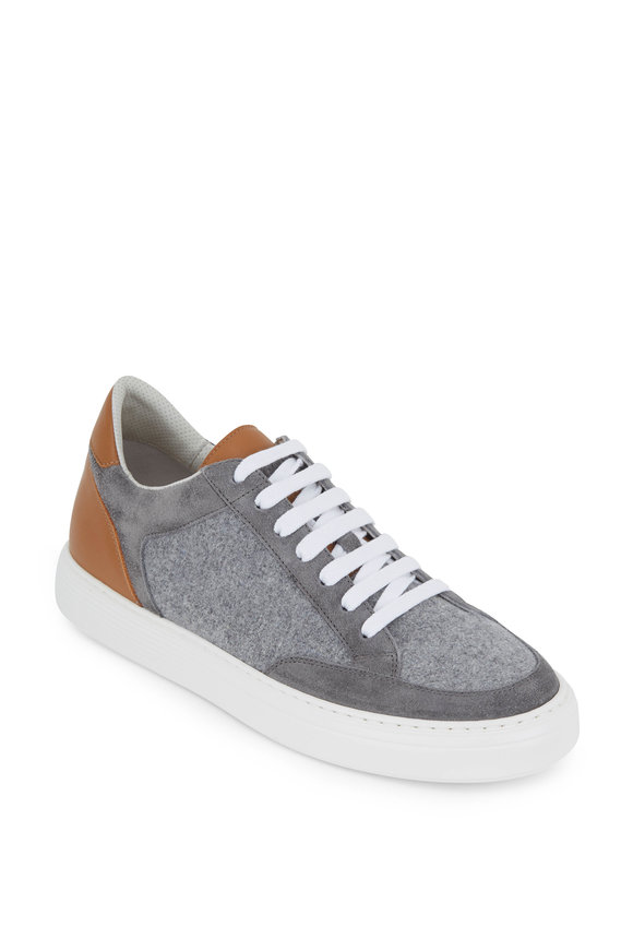 Brunello Cucinelli Light Gray Low-Top Felt Sneaker