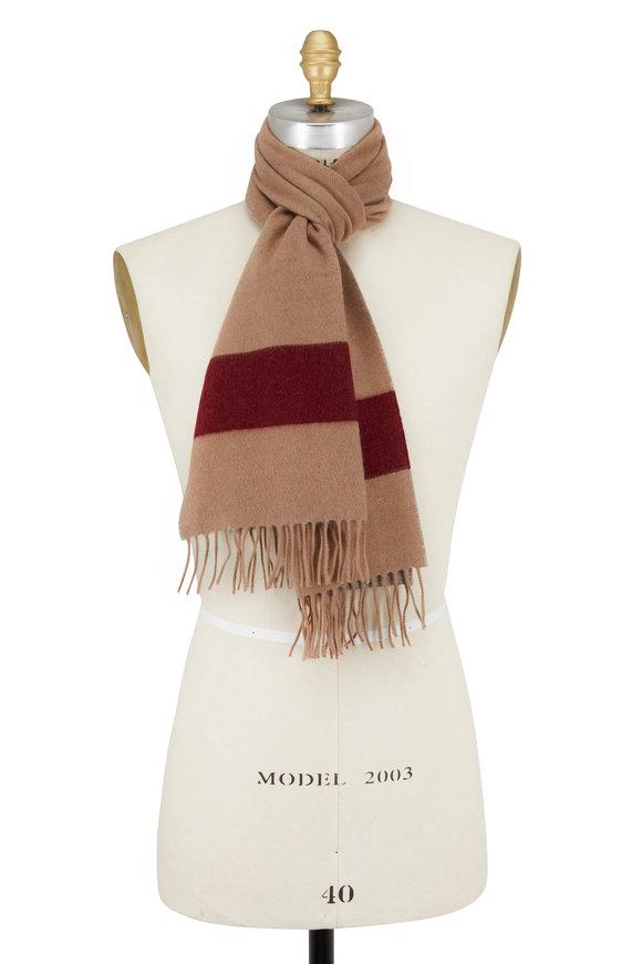 Brunello Cucinelli Camel Wide Striped Cashmere Scarf