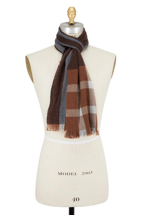 Brunello Cucinelli Brown & Gray Oversized Plaid Cashmere Scarf