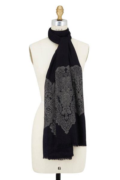 Etro - Black & Silver Lace Jacquard Scarf