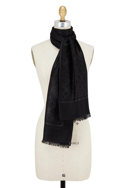 Etro - Black Cashmere & Lurex Logo Scarf