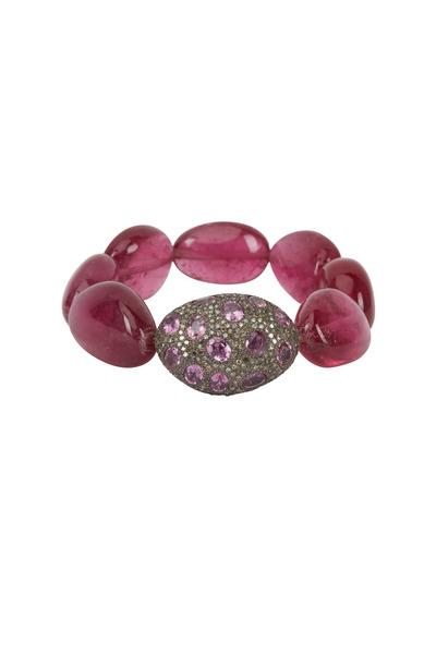 Loren Jewels - Sterling Silver Pavé Pink Sapphire Bracelet