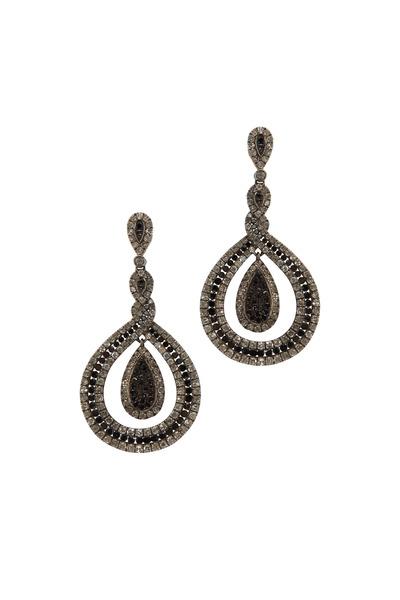 Loren Jewels - Gold Black Champagne Diamond Dangle Earrings