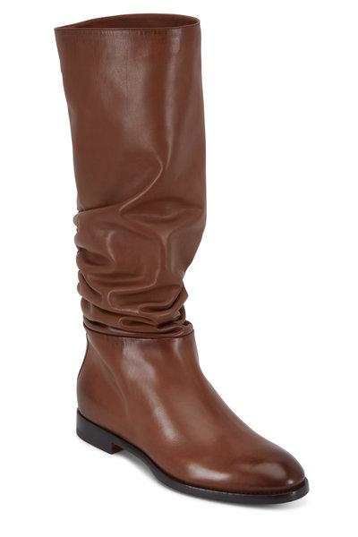 Santoni - Marlene Cognac Leather Tall Slouchy Boot