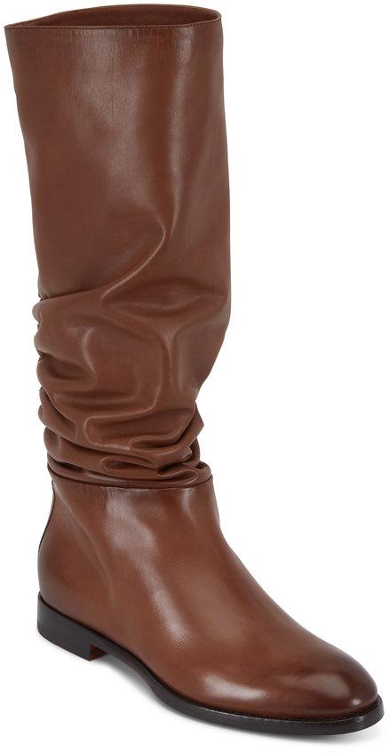 Santoni Marlene Cognac Leather Tall Slouchy Boot