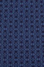 Salvatore Ferragamo - Navy Blue Gancini Outline Silk Necktie