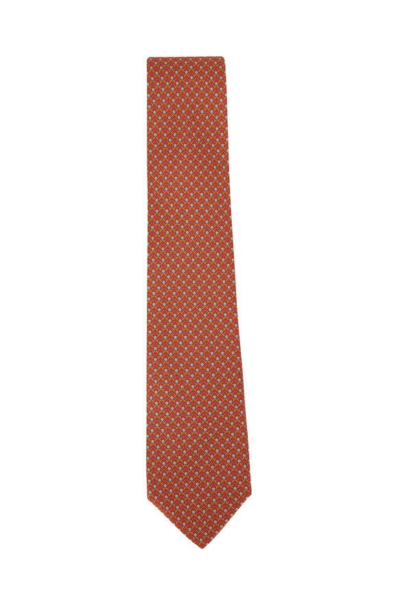 Salvatore Ferragamo Orange Golf Silk Necktie