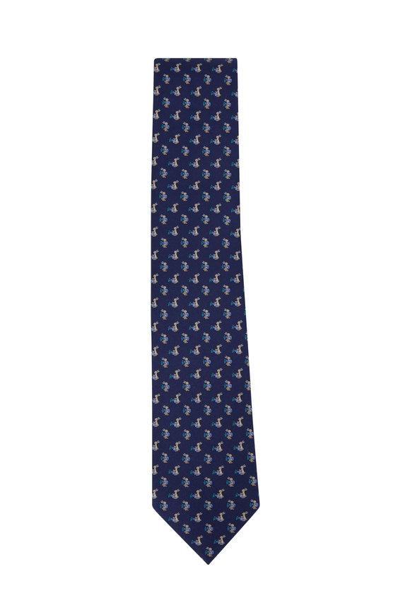 Salvatore Ferragamo Navy Blue Bunny Silk Necktie