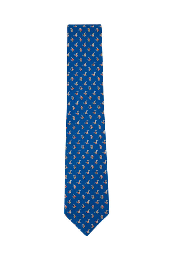 Salvatore Ferragamo Royal Blue Bunny Silk Necktie