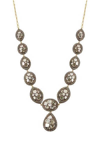 Loren Jewels - Gold & Silver Rose-Cut Diamond Necklace