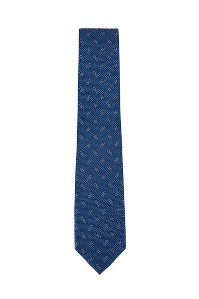 Salvatore Ferragamo - Blue Gancini Silk Necktie