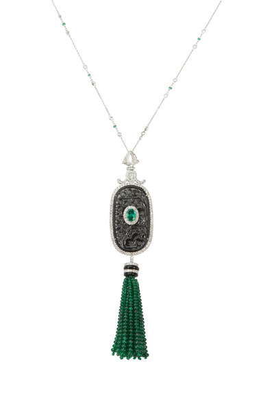 Loren Jewels - Gold & Silver Jade & Emerald Diamond Necklace
