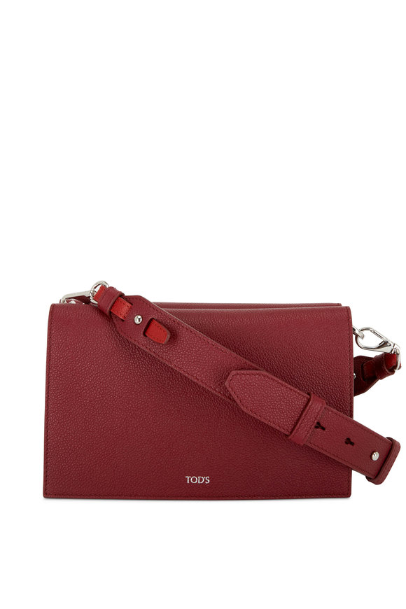 Tod's Doppia Fuchsia & Blush Grained Leather Crossbody