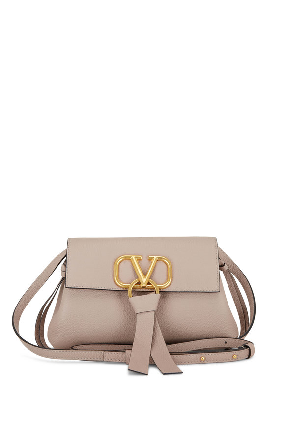 Valentino Garavani V-Ring Poudre Leather V-Ring Clutch
